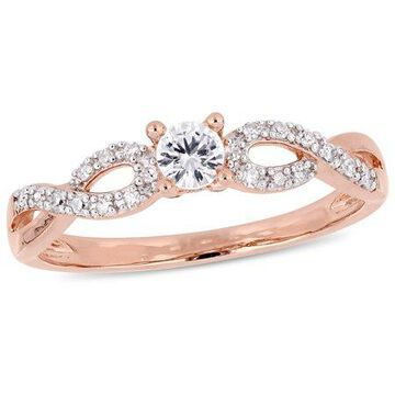 1/4 Carat T.G.W. Created White Sapphire and 1/10 Carat T.W. Diamond Rose-Plated Sterling Silver Ring