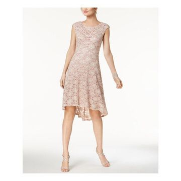 CONNECTED Womens Pink Glitter Lace Hi-lo Cap Sleeve Crew Neck Knee Length Shift Prom Dress Size: 12