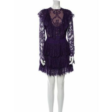 Lace Pattern Mini Dress Purple