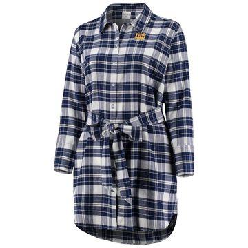 Notre Dame Fighting Irish ZooZatz Women's Plus Size Warmup Flannel Button-Up Dress - Navy