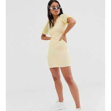 Reclaimed Vintage inspired dress in lace with ruffle front-Yellow