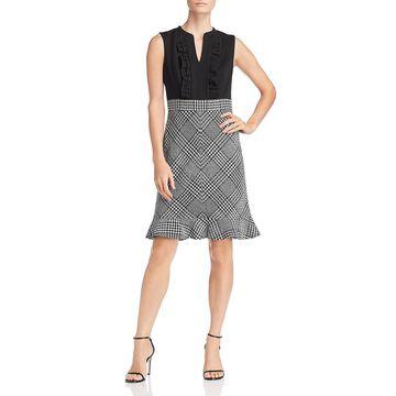Karl Lagerfeld Paris Womens Tweed Ruffled Wear to Work Dress