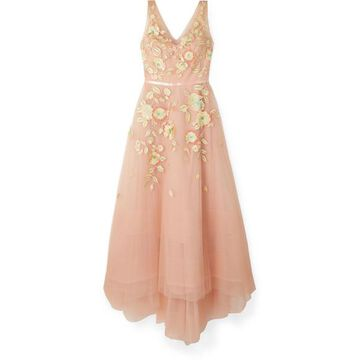 Marchesa Notte - Embellished Embroidered Tulle Gown - Blush