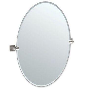 Gatco Elevate 32-Inch x 28.25-Inch Oval Frameless Mirror in Satin Nickel