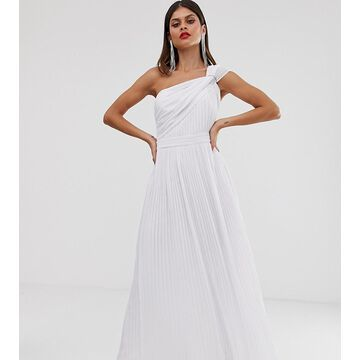 TFNC one shoulder pleated maxi dress in white