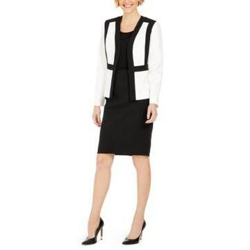 Le Suit Petite Kiss-Front Skirt Suit