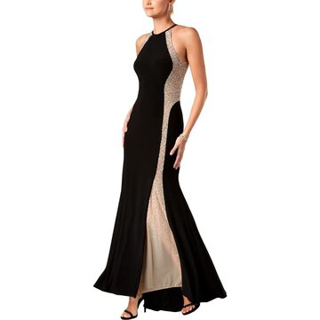 Xscape Womens Evening Dress Beaded Illusion