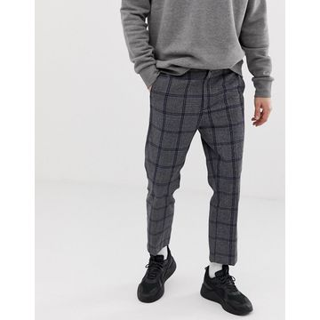 Weekday Charlie check pants in gray and blue