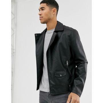 New Look faux leather biker jacket in black