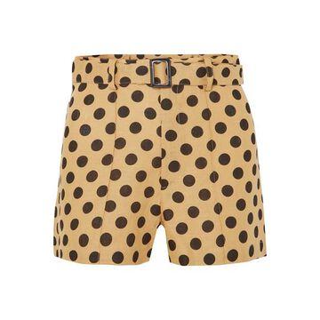 Lisa Marie Fernandez - Belted Polka-dot Linen Shorts - Sand