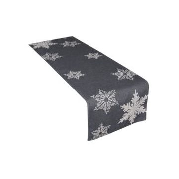 """Xia Home Fashions Glisten Snowflake Embroidered Christmas Table Runner, 16"""" x 54"""""""