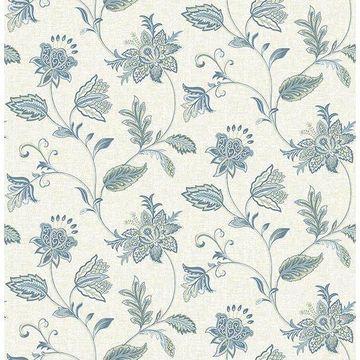 Brewster 2657-22205 Georgette Denim Jacobean Wallpaper