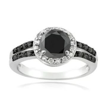 DB Designs Sterling Silver 1 1/4ct TDW Black and White Diamond Solitaire Ring (6)