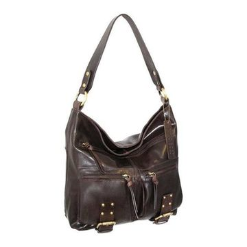 Nino Bossi Women's Daphne Leather Shoulder Bag Chocolate - US Women's One Size (Size None)