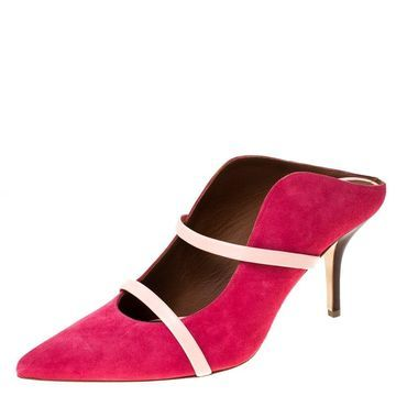 Malone Souliers Pink Suede And Leather Trim Maureen Pointed Toe Mules Size 40