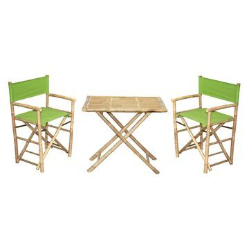 Bamboo54 Wood 3 Piece 30 in. Patio Bistro Set with Director Chairs