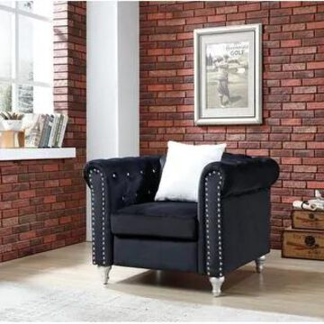 Raisa Chair with Velvet and Crystal Accents (Black)