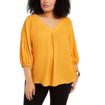 Plus Size Blouson-Sleeve Top