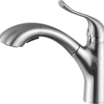 ANZZI Di Piazza Brushed Nickel 1-Handle Deck-Mount Pull-Out Handle Kitchen Faucet | KF-AZ205BN