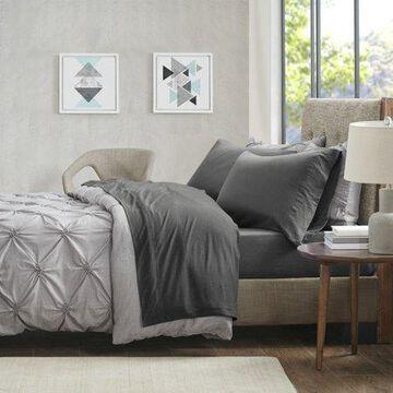 Comfort Classics Heathered Cotton Jersey Knit Sheet Set, Charcoal, Twin-XL