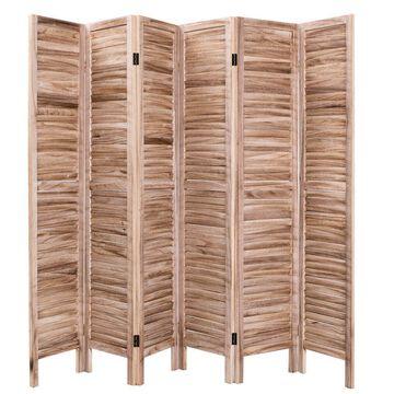 Goplus 67 inch High 6 Panel Room Divider Furniture Classic Venetian Wooden Slat Home Brown | HW53906BN