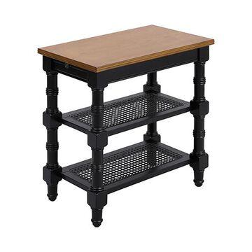 Seneca Falls Black and Nostalgic Oak Accent Table