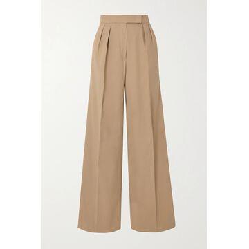 Max Mara - Malizia Pleated Stretch-cotton Wide-leg Pants - Brown