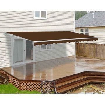 ALEKO 12'x10' Retractable Patio Awning, Brown Color