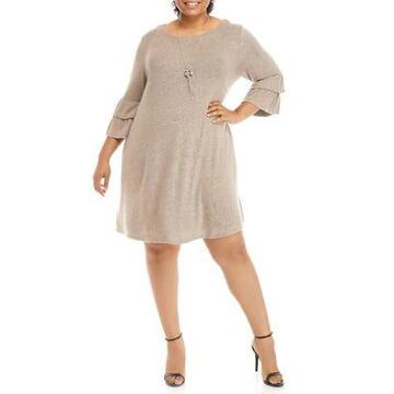 Agb Plus Size Ruffle Sleeve Dress With Necklace -