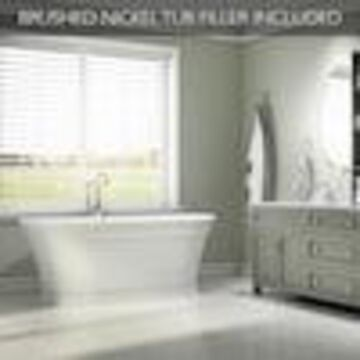 Jacuzzi Lyndsay 67-in White Acrylic Oval Center Drain Freestanding Bathtub and Faucet Included