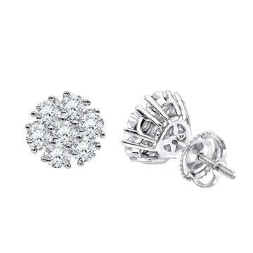 Diamond Flower Cluster Earrings Studs in 14k Gold 1.5ctw by Luxurman