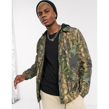 Bershka jacket with all over leaf print in green
