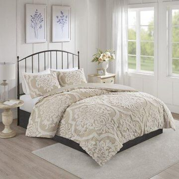 Home Essence Eugenia 3 piece Tufted Cotton Chenille Damask Comforter Set, Full/Queen, Taupe