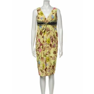 Floral Print Knee-Length Dress w/ Tags Yellow