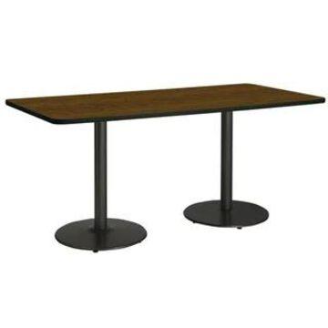 "KFI Mode Multipurpose Table, Round Black Base, Standard Height (42"" x 72"" top - walnut)"