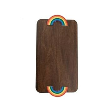 Thirstystone Wood Serve Board with Rainbow Handles