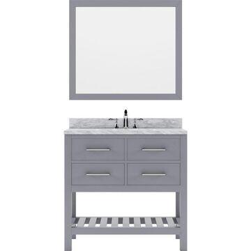 Virtu USA Caroline Estate 36-in Gray Undermount Single Sink Bathroom Vanity with Italian Carrara White Marble Top (Mirror Included)