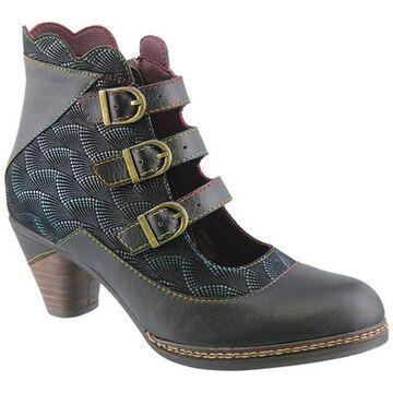L'Artiste by Spring Step Women's Dorrie Buckled Bootie Black Multi Leather