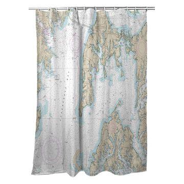 SH12270OKI Kent Island, MD Nautical Map Shower Curtain - 70 x 72 in.