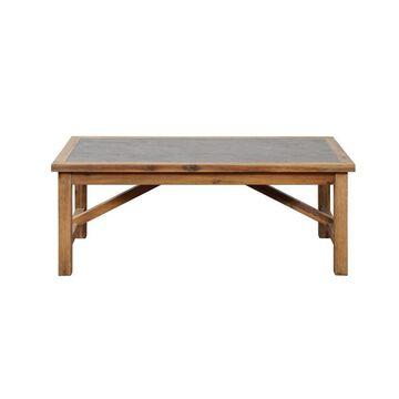 Linon Carly Brown Wood Veneer Coffee Table