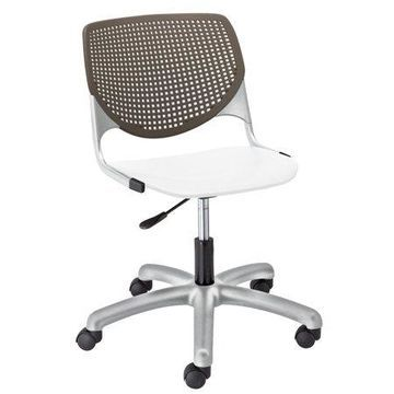 KFI KOOL Armless Home and Office Computer Chair, White Seat