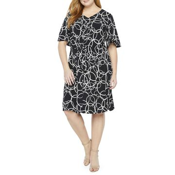 London Times Short Sleeve Scroll Fit & Flare Dress - Plus