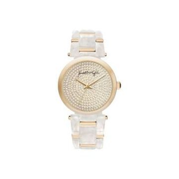 Women's Kendall + Kylie Mother Of Pearl Link with Gold Tone Accents Stainless Steel Strap Analog Watch 40mm