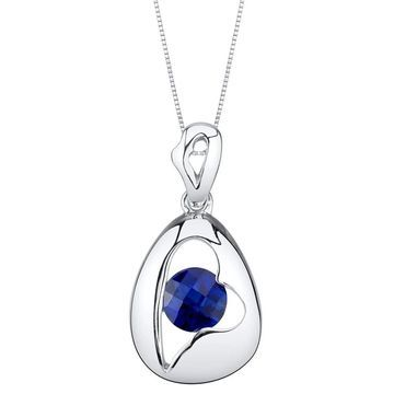Oravo Created Sapphire Sterling Silver Minimalist Pendant Necklace - Blue