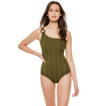 Shoshanna Swimwear Olive Texture Emerald Tortoise Olive Texture One Shoulder One Piece Swimsuit Size 8