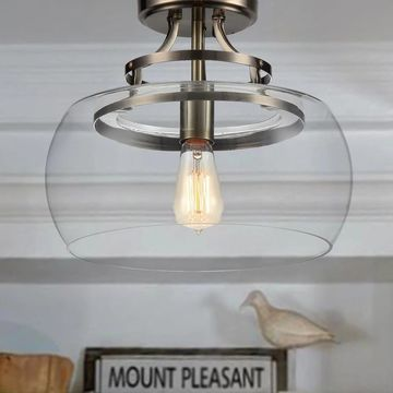 Kostandea 1-light Bronze 13-inch Glass Flush Mount with Bulb