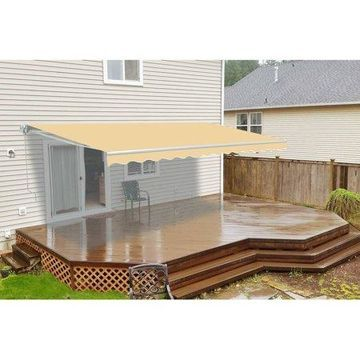 ALEKO 10'x8' Retractable Patio Awning, Ivory Color
