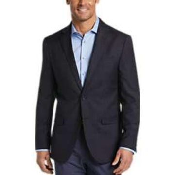 Egara Navy Check Slim Fit Sport Coat