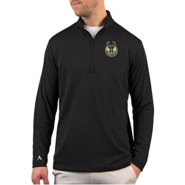 Antigua Men's Milwaukee Bucks Black Quarter-Zip Pullover