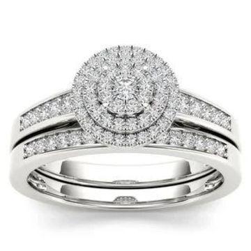 De Couer 14k White Gold 1/3ct TDW Diamond Cluster Halo Bridal Set (Size 6)